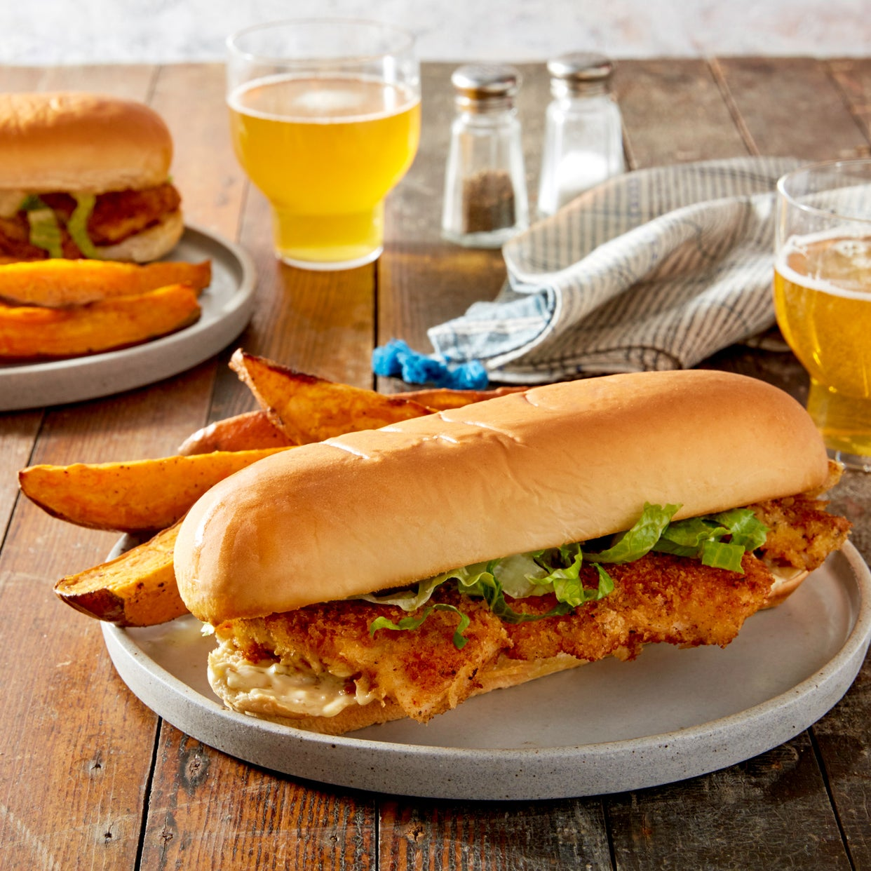 Crispy Fish Sandwiches with Tartar Sauce & Roasted Sweet Potato Wedges