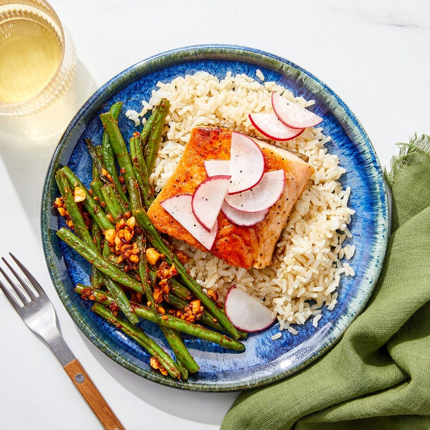 Honey Teriyaki Salmon with Brown Rice & Spicy Green Beans