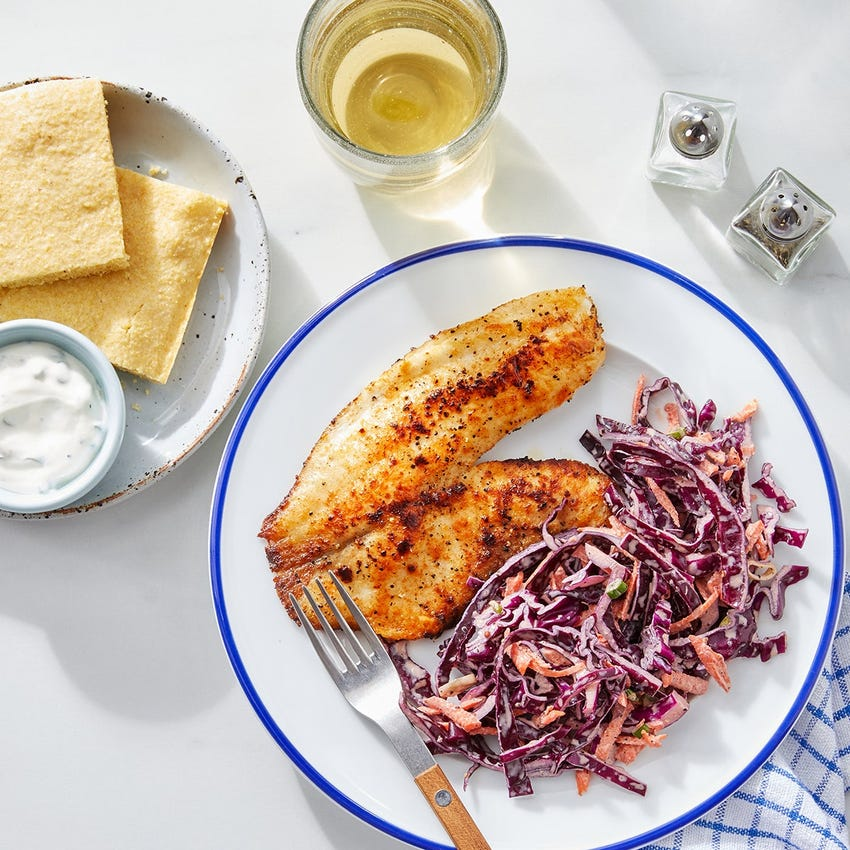 Southern-Spiced Fish & Buttermilk Cornbread with Slaw & Scallion Sour Cream