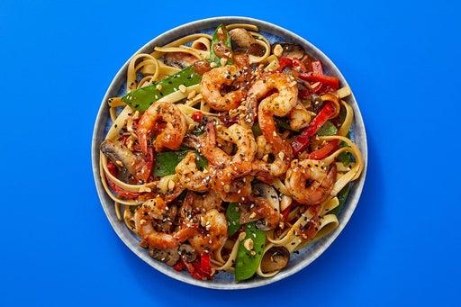 Finish & Serve the Sambal-Peanut Noodles & Shrimp