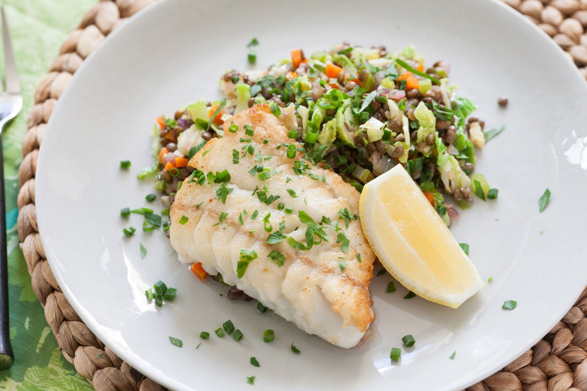 Seared Hake with Warm Lentils & Brussels Sprouts