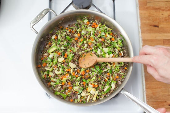 Add the lentils to the vegetables: