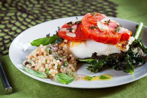 Cod with Crispy Kale, Roasted Tomato & Fregola Sarda