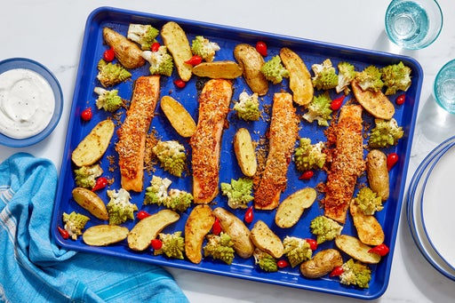 Sheet Pan Deviled Salmon with Roasted Potatoes & Creamy Lemon Sauce