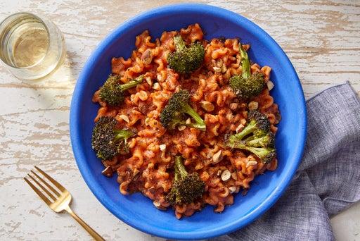 Mafalda Pasta & Roasted Broccoli with Creamy Brown Butter-Tomato Sauce