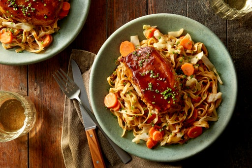 Hoisin-Glazed Pork Chops with Stir-Fried Vegetables & Wonton Noodles