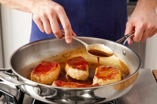 Cook & glaze the pork chops: