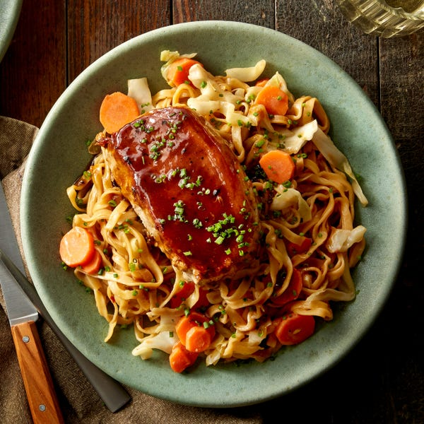 Hoisin-Glazed Pork Chops with Stir-Fried Vegetables & Wonton Noodles