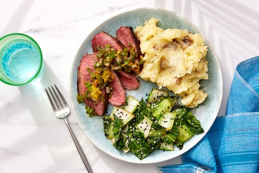 Seared Steaks & Sesame Mashed Potatoes with Charred Shishito Agrodolce & Bok Choy