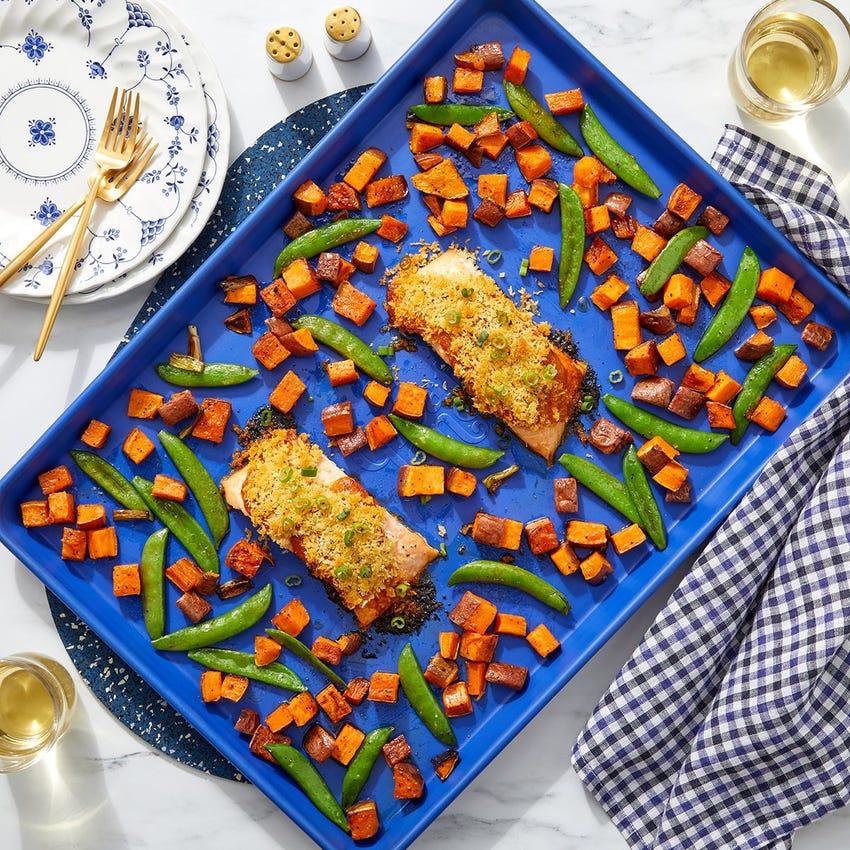 Sheet Pan Curry Salmon with Ponzu-Dressed Sweet Potatoes & Snap Peas