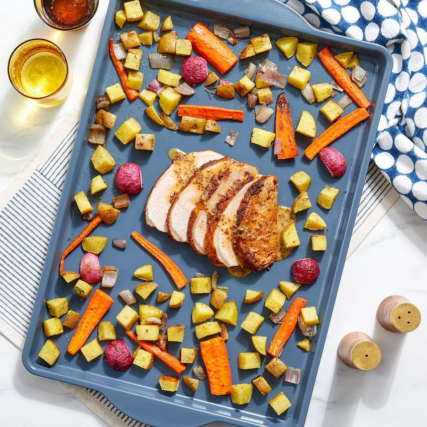 Sheet Pan BBQ Pork with Roasted Vegetables & Maple-Mustard Sauce