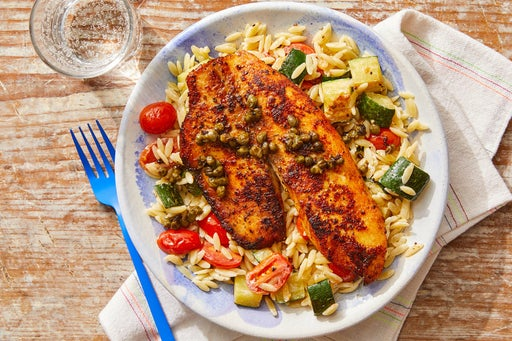 Lemon-Caper Tilapia with Orzo, Zucchini & Tomatoes