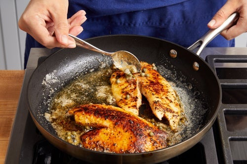 Make the pan sauce & finish the tilapia