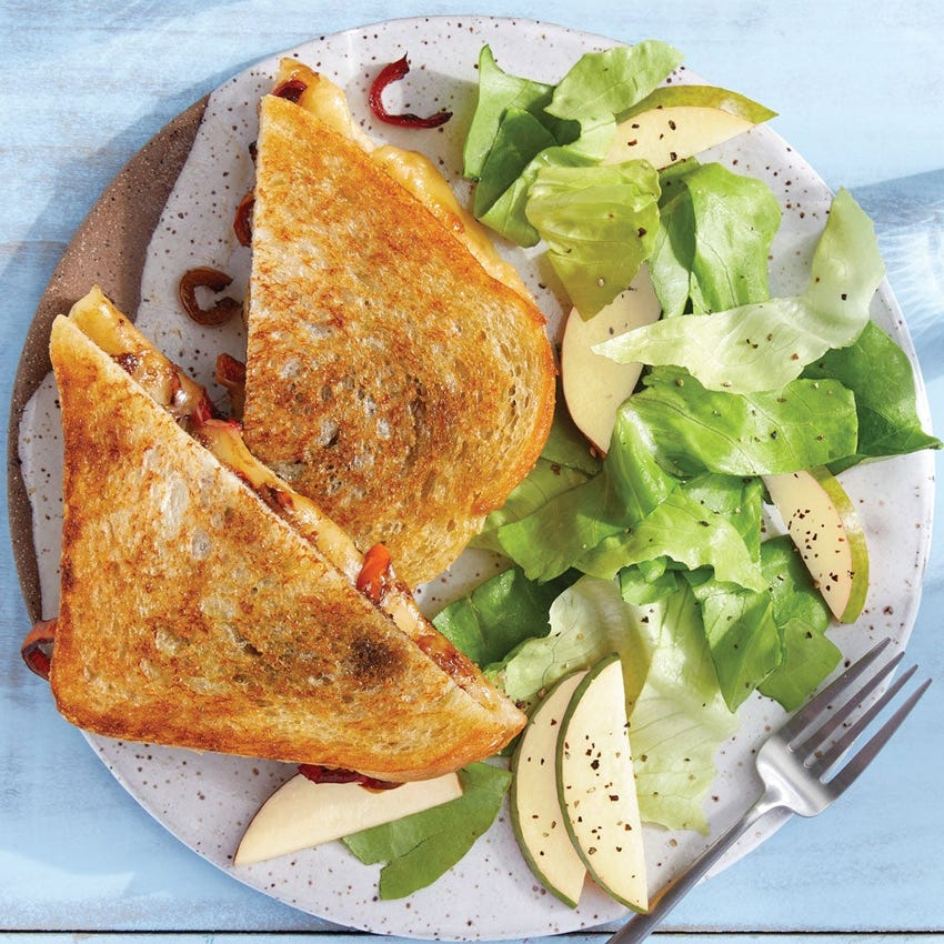 Bell Pepper & Sour Cherry Grilled Cheese with Butter Lettuce & Pear Salad