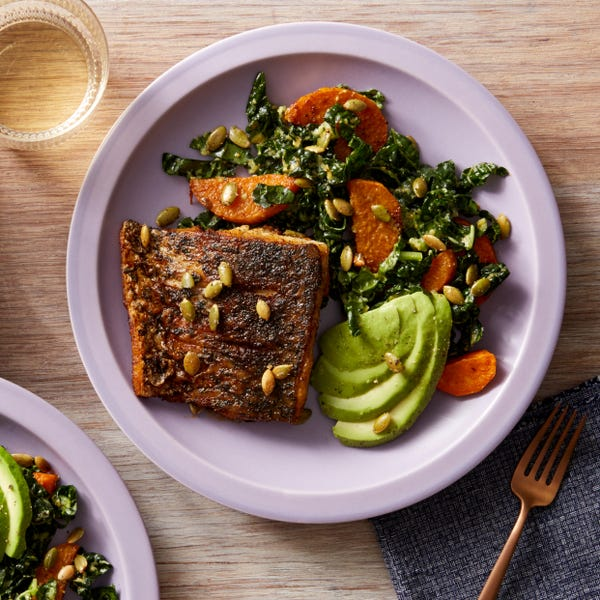 Mexican-Spiced Barramundi with Kale, Sweet Potato, & Avocado Salad