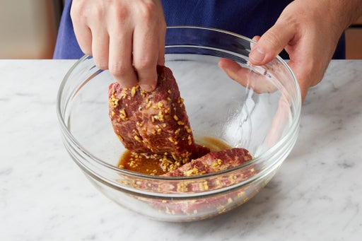 Marinate the steaks: