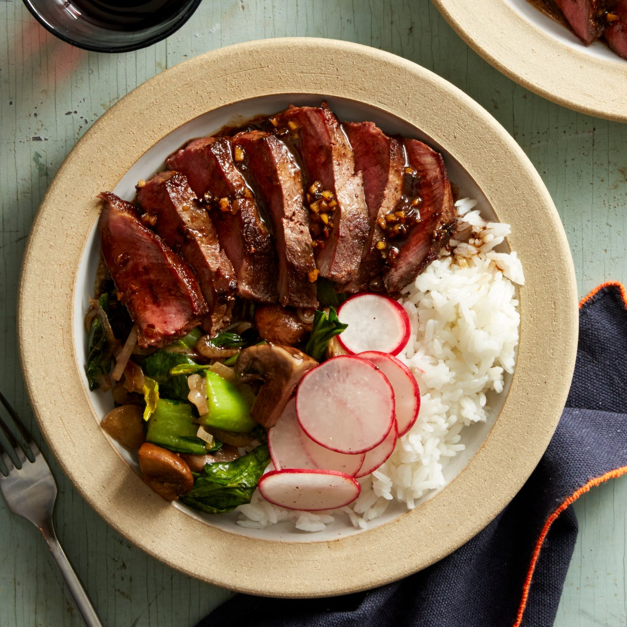 Top Chef Ginger-Marinated Grassfed Steaks with Stir-Fried Vegetables & Jasmine Rice