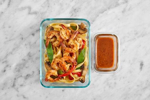 Assemble & Store the Sambal-Peanut Noodles & Shrimp