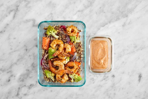 Assemble & Store the Shrimp & Veggie Quinoa