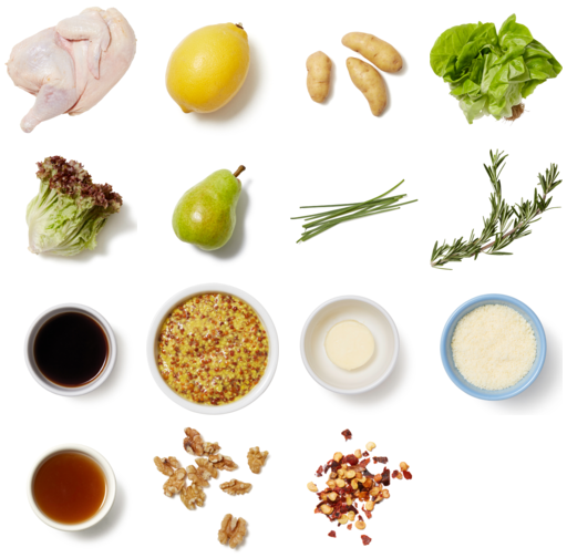 Pasture-Raised Roast Chicken & Rosemary-Lemon Sauce with Pear & Walnut Salad