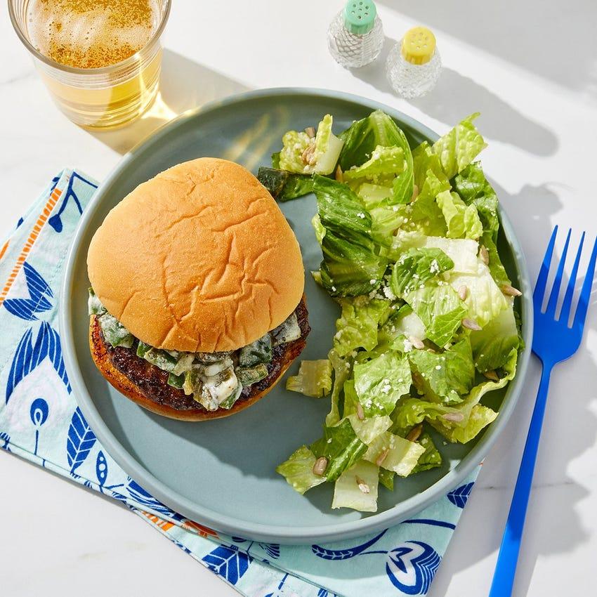 Creamy Poblano Burger with Lemon Cotija Salad
