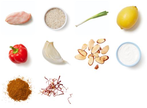 Spiced Chicken & Saffron Rice with Almonds & Lemon Yogurt