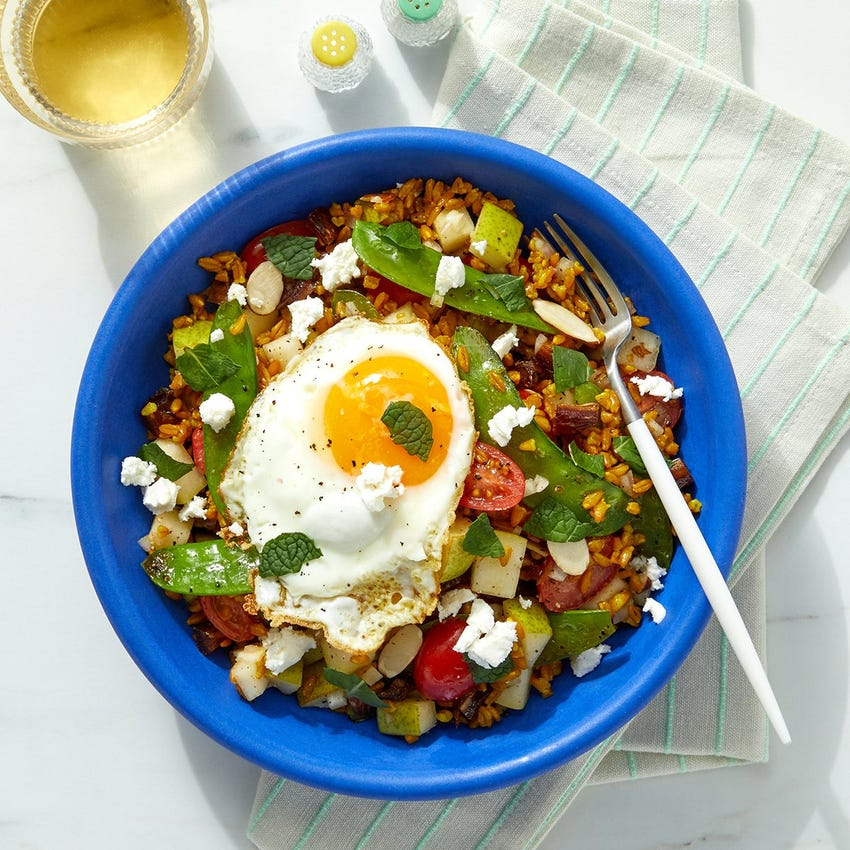 Pear & Snow Pea Grain Bowl with Feta Cheese & a Sunny Side-Up Egg