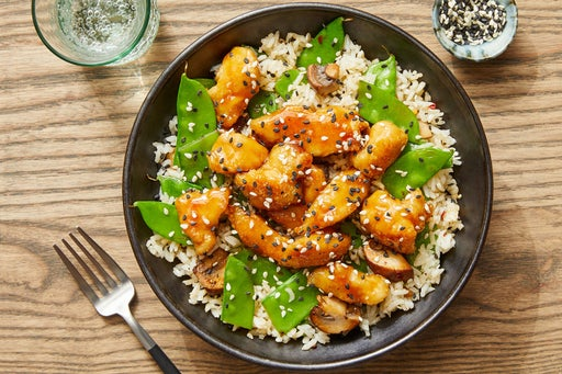 Soy & Butter-Glazed Chicken with Sesame Vegetables & Brown Rice