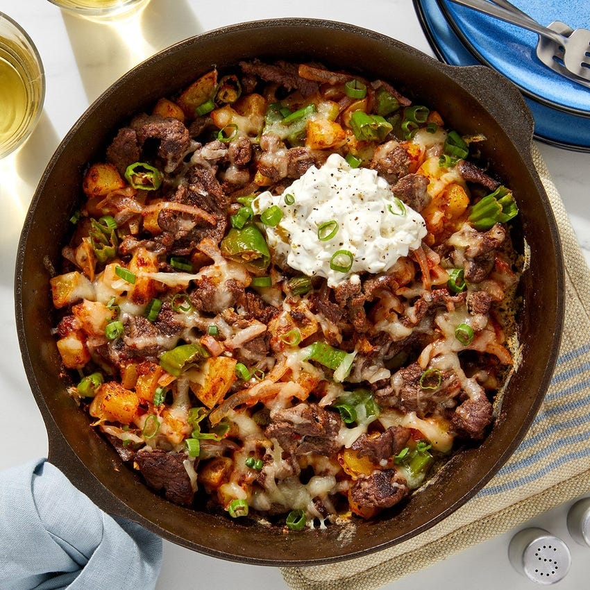 Cheesy Beef & Potato Hash with Peppers, Onion & Jalapeño Sour Cream