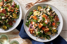 Brussels Sprout & Pearl Couscous Salad with Harissa-Marinated Frying Cheese