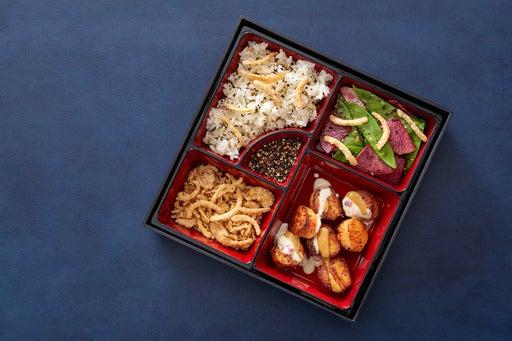Roy Yamaguchi's Togarashi Scallops with Beurre Blanc, Soy Mustard & Sushi Rice