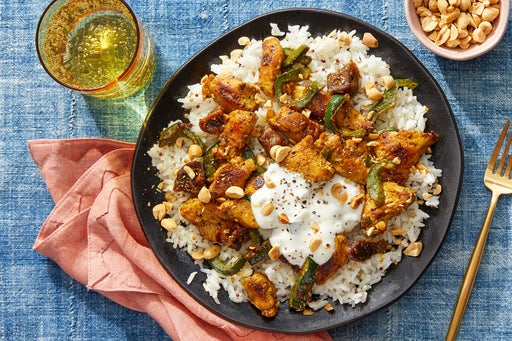 Curried Chicken, Poblanos & Figs with Mustard Seed Rice