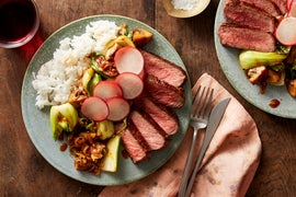 Top Chef Seared Grassfed Steaks with Sweet Chili-Glazed Vegetables