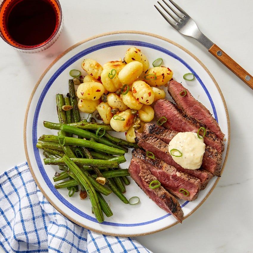 Pan-Seared Steaks & Aioli with Crispy Gnocchi & Sautéed Green Beans