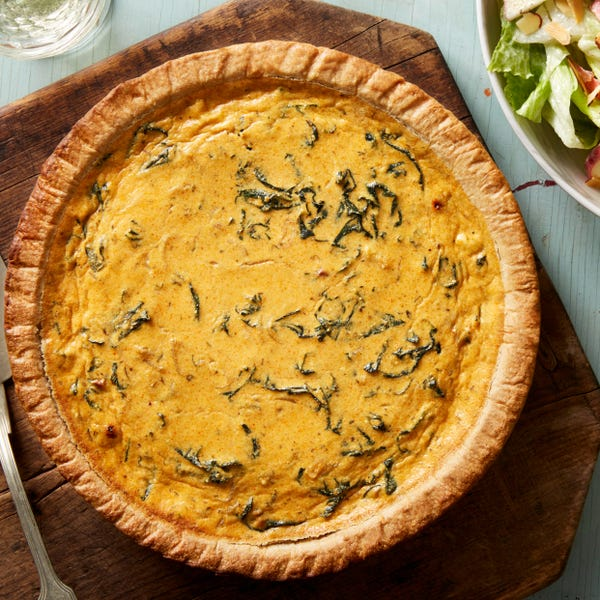 Kale & Ricotta Quiche with Romaine, Apple, & Almond Salad