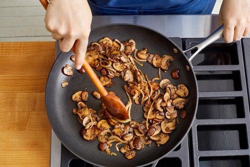 Cook the mushrooms & onion