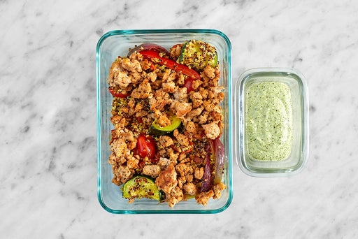 Assemble & Store the Creamy Cilantro Turkey & Quinoa