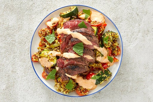 Finish & Serve the Seared Steaks & Achaar Yogurt