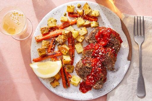 Calabrian Chile-Glazed Pork Meatloaf with Lemon-Caper Roasted Vegetables