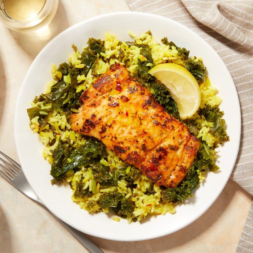 Pan-Seared Cod & Lemon Butter with Kale & Saffron Rice