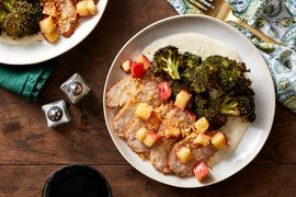 Roasted Pork & Broccoli with Apple, Cheese Sauce, & Garlic Breadcrumbs