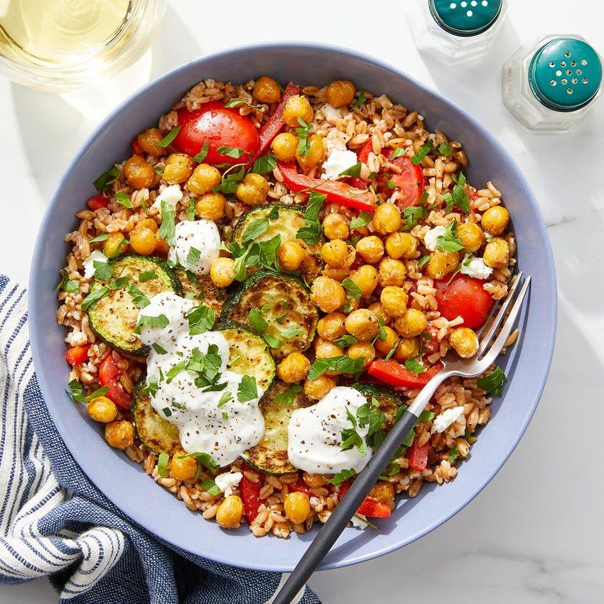 Greek Farro Salad with Chickpeas, Tzatziki & Feta