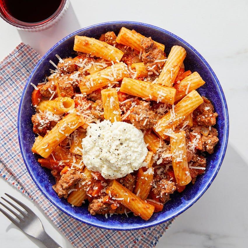 Pasta Bolognese with Garlic Ricotta