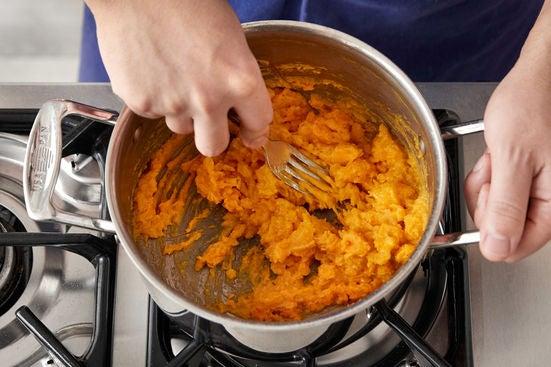 Cook & mash the sweet potatoes: