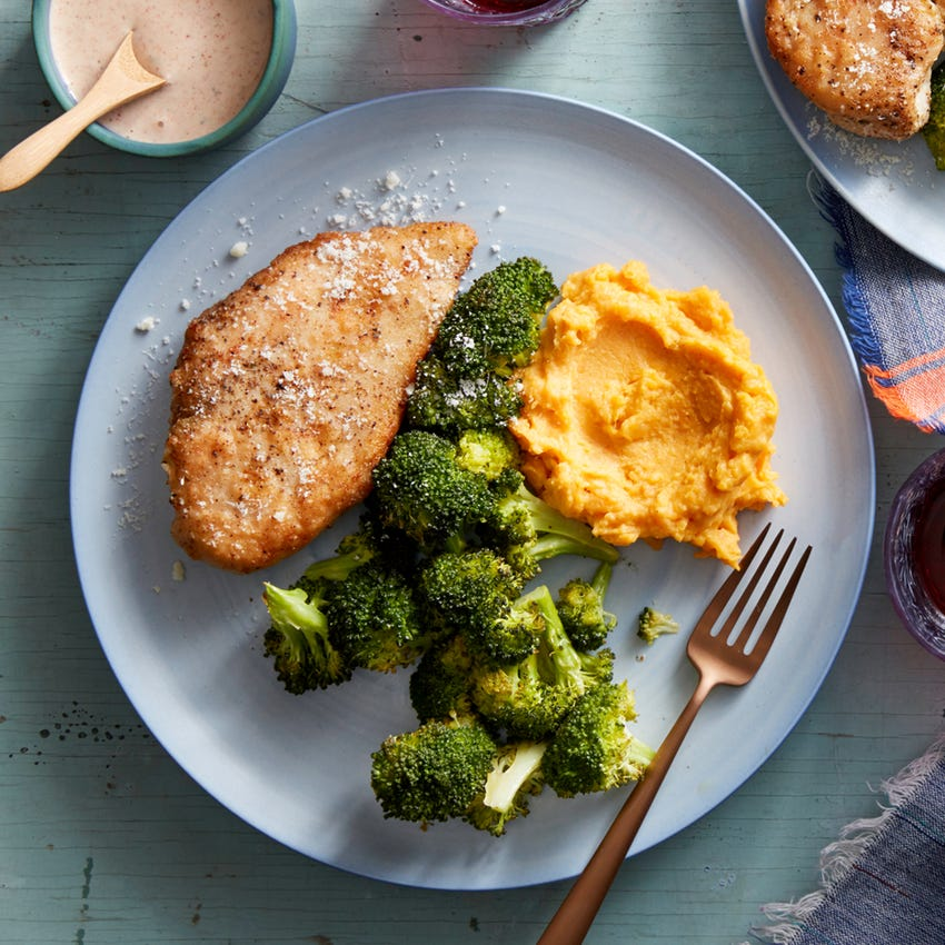 Recipe Parmesan Crusted Chicken With Mashed Sweet Potatoes Roasted Broccoli Blue Apron