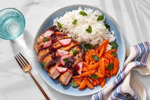 Charred Gochujang Pork Chops with Sour Cherry Soy Sauce & Ginger-Honey Carrots