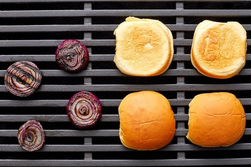Grill the onion & toast the buns
