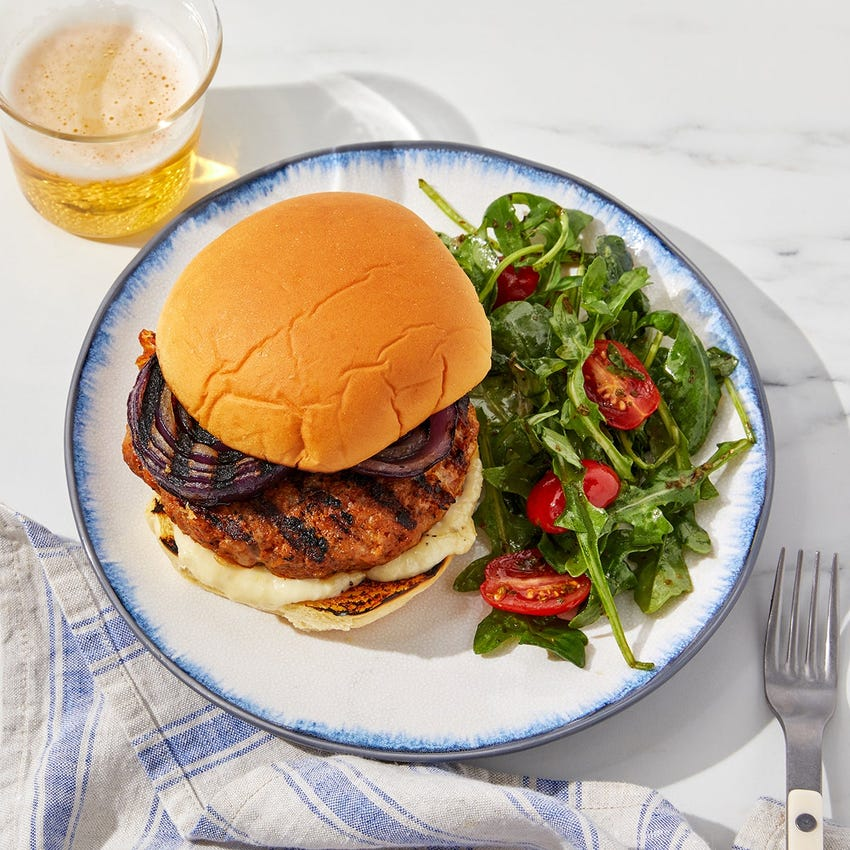 Grilled Italian Pork Sausage Burgers with Fontina & Garlic Mayo