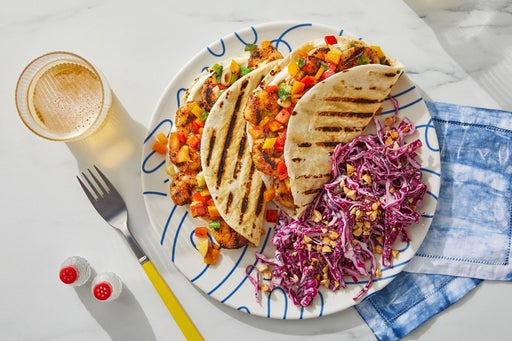 Grilled Shrimp Tacos with Peach Salsa, Cabbage Slaw & Peanuts