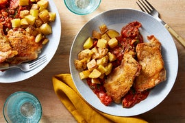 Crispy Chicken & Italian Tomato Sauce with Potatoes & Collard Greens
